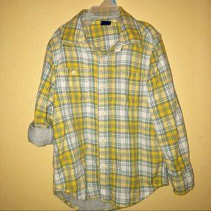 GAP Shirts & Tops - Boys Gap Yellow Gray Lined Plaid Button Up